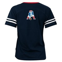 Junior Ladies Sleeve Stripe Throwback Tee-Navy