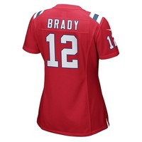 Ladies Nike Tom Brady Throwback Game Jersey-Red