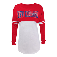 Junior Ladies Throwback Yoke Long Sleeve Top-Red