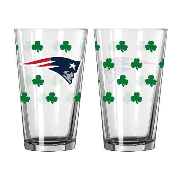 Patriots logo 16oz shamrock pint glass