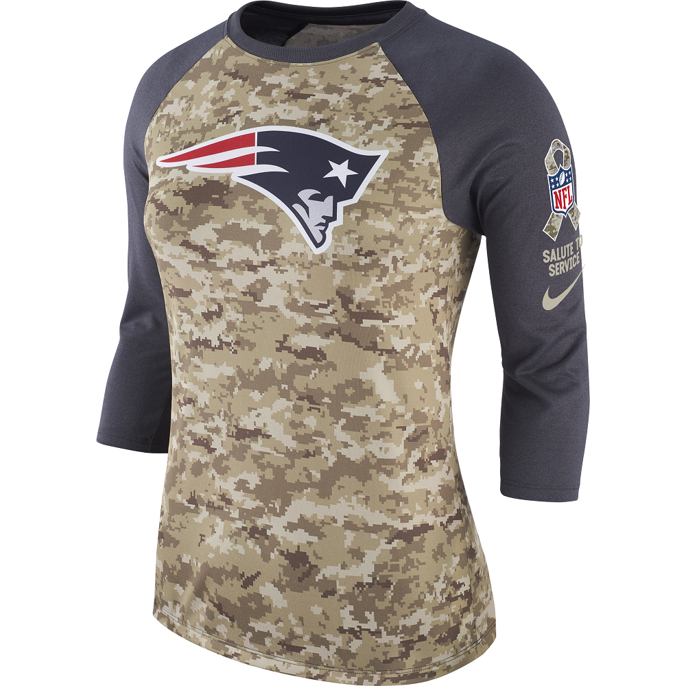 13541f46392ab4 Ladies Nike Salute To Service Raglan - Patriots ProShop