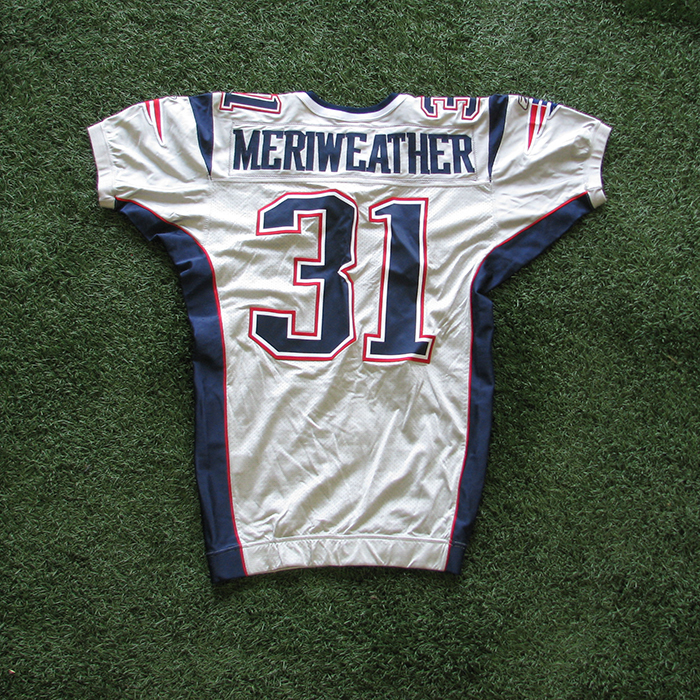 2005 Brandon Meriweather Team Issued Silver Jersey - Patriots ProShop 7095eb154