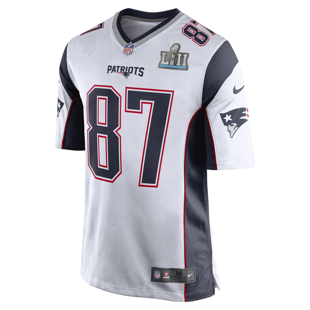250c805ab Nike Rob Gronkowski SB52 Patch Game Jersey-White - Patriots ProShop