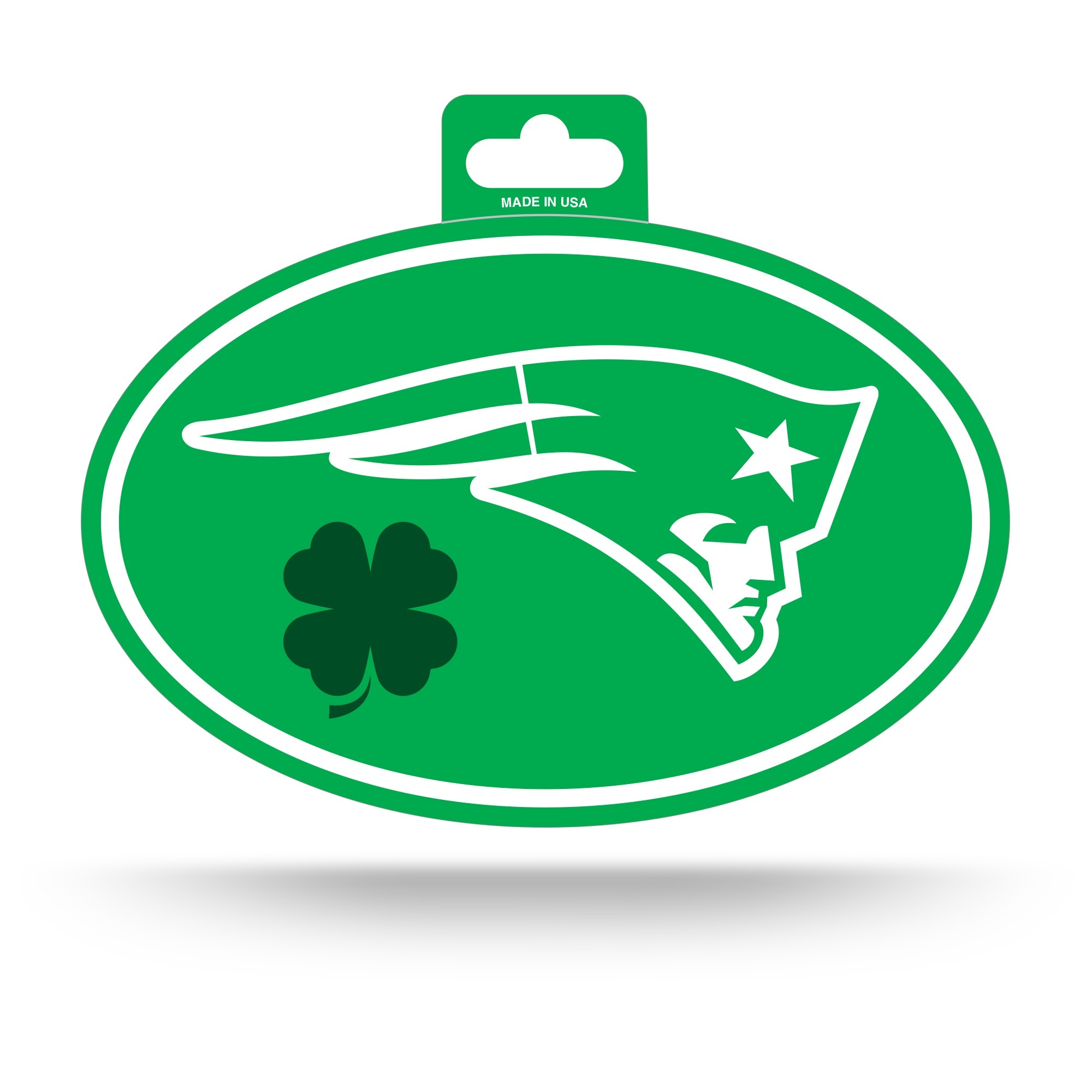 Patriots St Pattys Day Oval Decal Patriots Proshop
