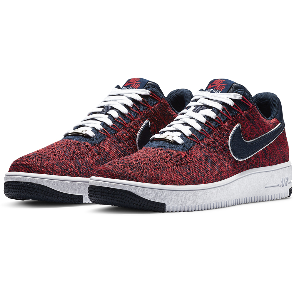 new style b260d acfe0 Nike RKK Air Force I FlyKnit Shoes - Patriots ProShop