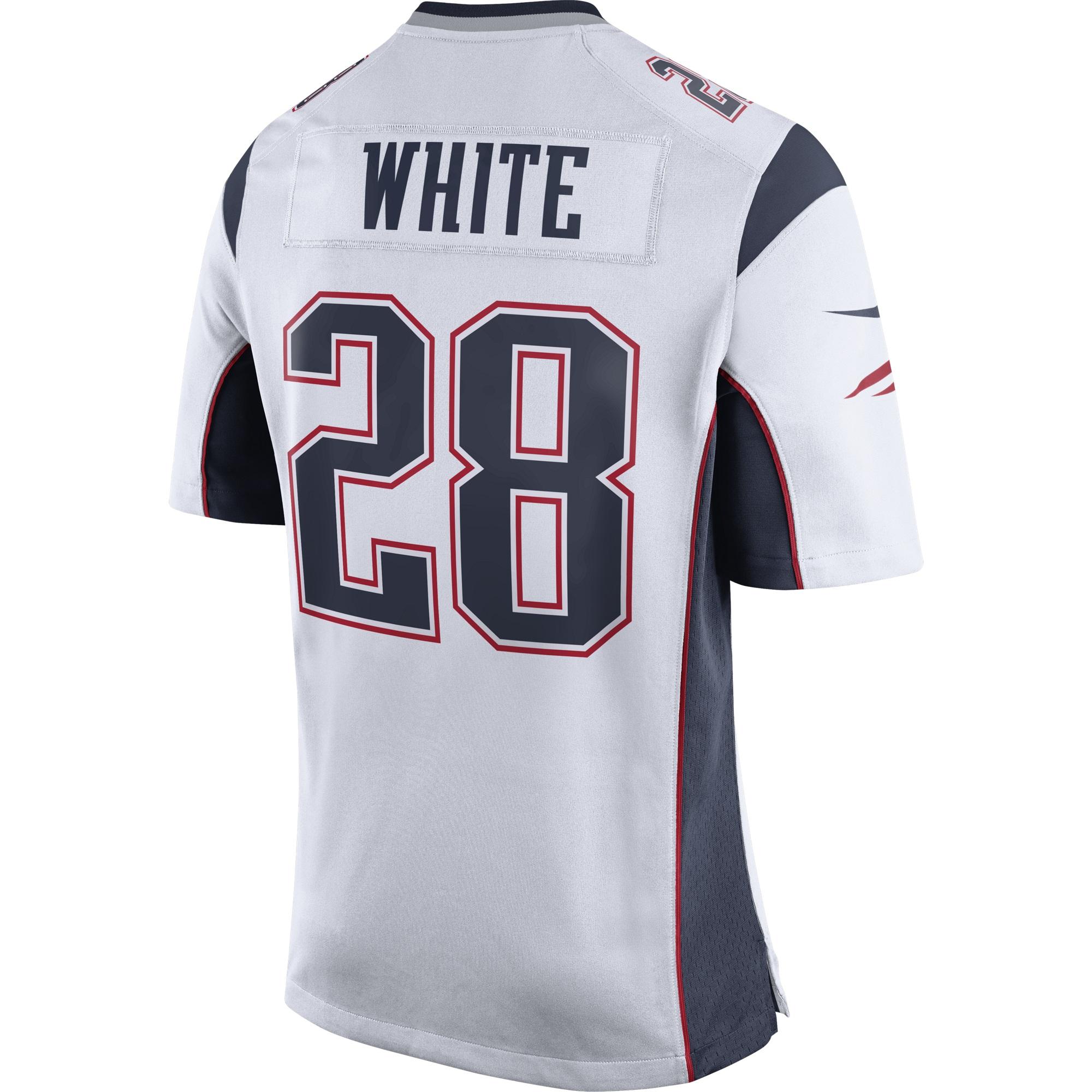 timeless design b31bf 72499 Nike James White #28 Game Jersey-White - Patriots ProShop