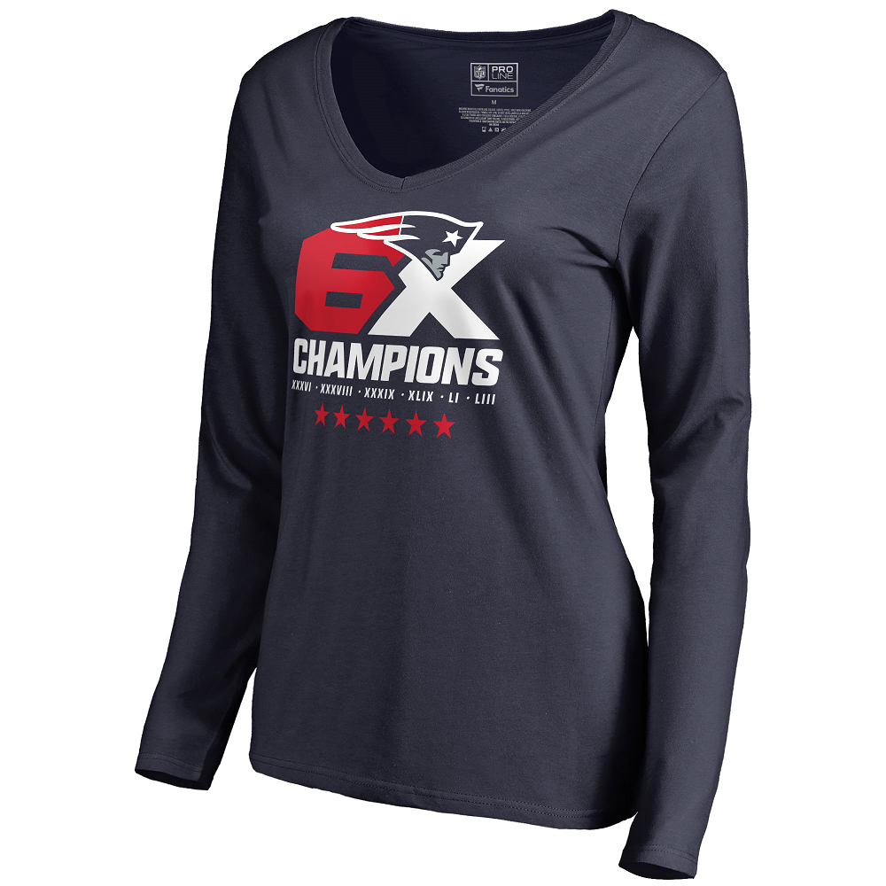 Ladies 6X Champions Long Sleeve Tee-Navy