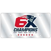 6X Champions Silver Mirror License Plate