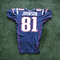 2003 Bethel Johnson Game Worn Navy Jersey