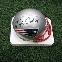 Autographed Tedy Bruschi Mini Helmet w/Case